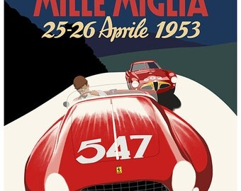 Art Deco Ferrari Mille Miglia poster