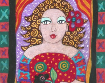 Whimsical Woman, Woman's Portrait, Funny Woman Art, Art For Women, Red And Green, Humorous Woman Art, Woman Art Print, by Paula DiLeo_316