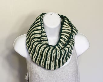 Green and White Merino wool Infinity Scarf, Hand knit
