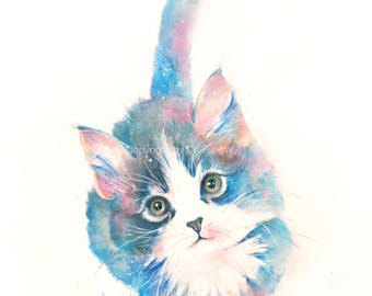 kitten, cat, kitten print, animal print, giclee, art, Watercolor, watercolor art print, cat---Original watercolor giclee print
