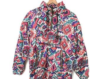 Vintage 80's Jacket 90's Jacket Neon Windbreaker Oversized Ski Jacket Medium SOUTHWEST Jacket Boho Southwest Navajo Hippie Tribal Ethnic H