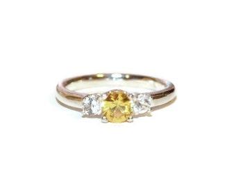 Yellow Sapphire Ring, Three Stone Ring, Sterling Silver Ring With Three Stones, Ring with Accent Stones