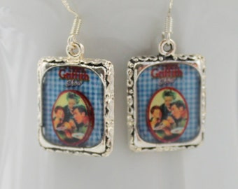 Andy Griffith Show Earrings Jewelry TV Mayberry Silver Square 3D Dimensional Movie