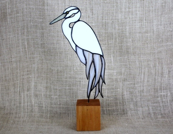 Stained Glass White Egret Bird on Wood Base