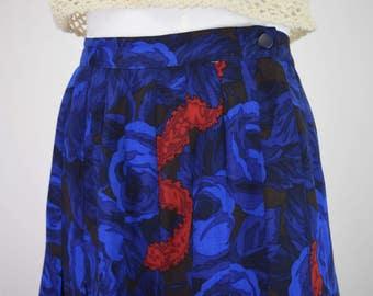 High Waisted Blue Peony Maxi Skirt