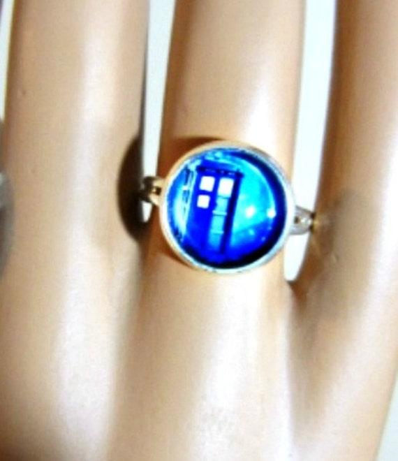 dr who tardis ring fashion ring blue ring