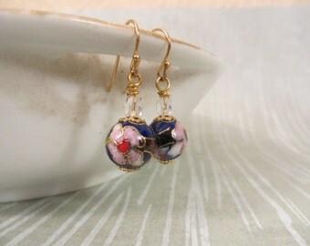 Blue cloisonné earrings, pink flower earrings, enamel earrings, enamel jewelry, cloisonne jewelry, flower earrings (Style no. E108)