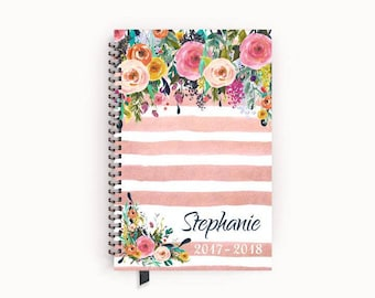 Personalized 2017 Planner Gift for Her with Watercolor Floral on Blush Pink Stripes