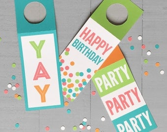 Happy Birthday Wine Tags Set of Three