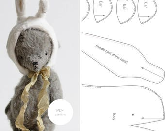 Easter Bunny PDF Sewing Pattern Teddy Bear Rabbit Ears 6 Inches Digital Download PDF Tutorial Easy To Follow Stuffed Animal For Women