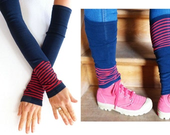 Arm warmers and leg warmers, red, blue stripes, stripes