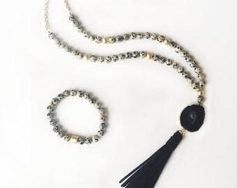 Dalmatian Jasper Agate Druzy Tassel Necklace - Beaded Necklace - Black Druzy - Agate Slice - Tassel Necklace - Druzy Necklace - Long Beaded