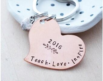 Teacher Gift - Teach, Love, Inspire - Copper Apple Keychain - Gift for Teacher - 2017 Teacher of the Year - Heart Keychain - Preschool