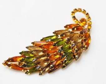 Rhinestone leaf Brooch -Juliana  style - Autumn Color  Orange Earthtone  brown green crystal Navette stones  - domed pin