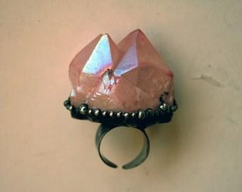 Massive Light Pink Aura Quartz Crystal Cluster Ring // Large Pink Quartz Statement Ring