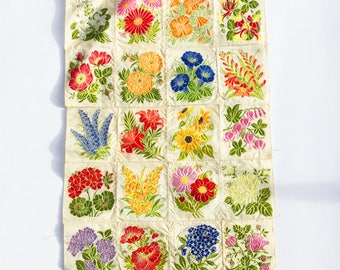 Vintage silk embroidered flowers, Patchwork floral material, Machine stitched embroidery, Silk flower panels