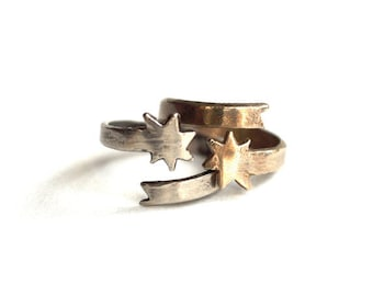 Shooting Star Knuckle Ring. Silver and Gold. Midi Ring in Brass, White Brass or Sterling Silver. Black Star Ring