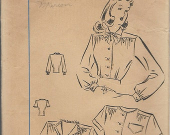 Vintage 1940's Fairloom Superior 6898 Sears & Roebuck Blouse Set Sewing Pattern Size 14 Bust 32""