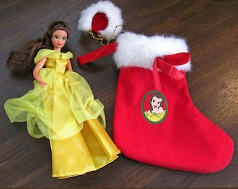 Disney Beauty and the Beast Christmas Stocking with Belle Doll ~ Vintage 1990's Retired