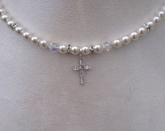 Swarovski Pearl Necklace, Swarovski Cross Necklace, Confirmation Necklace, Swarovski Pearl and Crystal Necklace, Christian Gift
