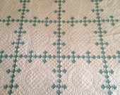 RESERVED FOR Holly - Antique Quilt, Bluish Green and White Nine Patch or Irish Chain Quilt, Teal and White Quilt, Single Irish Chain Quilt