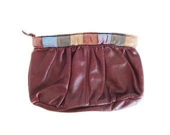 Vintage Burgundy Real Leather Clutch Purse with Banded Multi-Color Embossed Leather Top