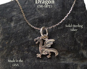 Sterling Silver Dragon Charm, Welsh Dragon Necklace, .925 Silver Dragon Jewelry, Classic Winged Dragon, Fantasy Gift - SE-1872