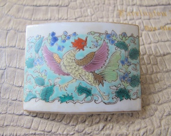 Asian Buckle Brooch. ROOSTER Porcelain Plaque Brooch. Chinese Porcelain. Artisan Signed. Handmade Artisan Asian Porcelain Art Jewelry OOAK