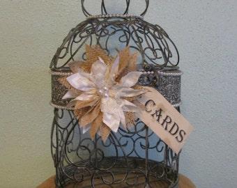 Rustic Wedding Card Box - Wedding Birdcage - Burlap Wedding ~ Bird Cage ~ Decorative Cage, Birthday, Anniversary, Baby Shower, Bridal Shower