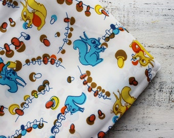 Vintage fabric squirrels white yellow blue 1.64 yards in 1 listing nursery