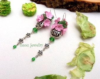 Pink Earrings, Floral Earrings, Pink Dangle Earrings, Girlfriend Gift, Pink Jewelry, Pink Green Earrings, Long Earrings, Women Jewelry Gift