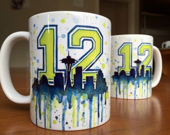 Seattle 12th Man Seahawks Ceramic Mug, Coffee Mug, Space Needle Watercolor, Coworker Gift, Seattle Mug, Drinkware, Seahawks Mug
