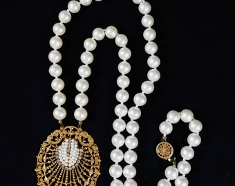 Miriam Haskell Necklace, Wedding Necklace, Brides Gift, Faux Seed Pearls, Rhinestones, Faux Pearl Chains, Bridal, Signed, 1950 or 1960