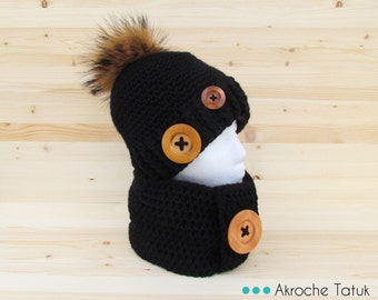 Rustik kit. Hat cowl snood crochet black (made to order)