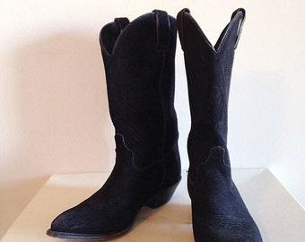 SALE! Vintage Black Suede Cowboy Boots Ladies Size 8 by Code West