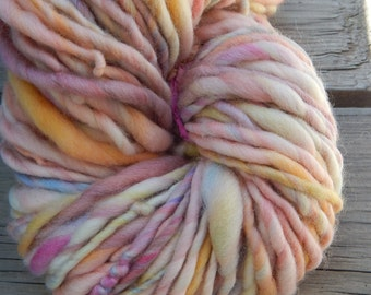 Hand spun, hand painted bfl yarn - thick and thin - 90 yards, 8.5 oz.