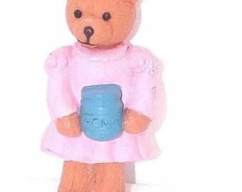 Vintage 3D Cake Topper Pink Teddy Bear, Pink Teddy Bear figure-New-Rare-1995