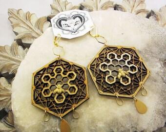 Honeycomb Earrings, Queen Bee, Gold, Geometric Mandala Earrings, Baltic Birch, Wood, Hexagon mandala, boho, festival