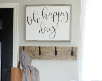 "Oh Happy Day Wood Sign - 19"" x 25"""