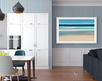 Framed Photography, Nautical Wall Art, Coastal Beach Decor, Abstract Ocean Waves Photo, Martha's Vineyard Artwork, Blue Teal Beige White