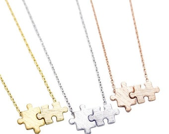 """Tiny Gold or Silver Autism """"You + Me"""" Puzzle Necklace - Dainty, Simple, Birthday Gift, Wedding Bridesmaid Gift"""