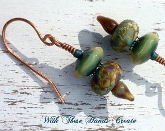 Lunar Garden Lampwork Earrings