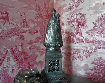French  Vintage,  Virgin Mary Large Statue, Shabby French, Vintage Cherub, Crown , Christianity Catholic  Madonna Napoleon III ex voto