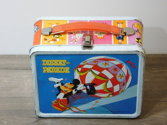 Vintage Disney Metal Lunch Box Disney On Parade Aladdin Retro Authentic Mickey Mouse Donald Duck Pluto Goofy Snow White Dwarf Captain Hook