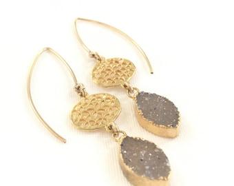 Druzy wire earrings