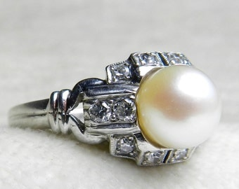 Pearl Engagement Ring Platinum Signed GRANAT Bros Ring 7 mm Pearl Old European Cut Diamond Ring San Francisco Art Deco 1930s Ring OEC