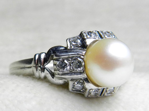 Pearl Engagement Ring Platinum Signed GRANAT Bros Ring 7 Mm