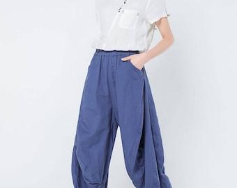 blue linen pants, blue linen trouser, wide leg trouser,harem pants, high waited pants, women harem pants, plus size pants, loose pants C1110
