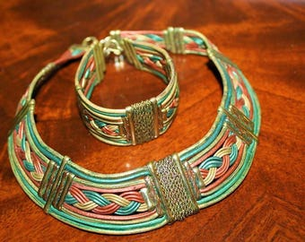 Vintage Egyptian Revival Cleopatra Woven Fabulous Color Choker Bracelet Set SU3