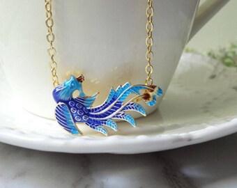 Cloisonne burn blue gold plated phoenix pendant necklace 0329-1